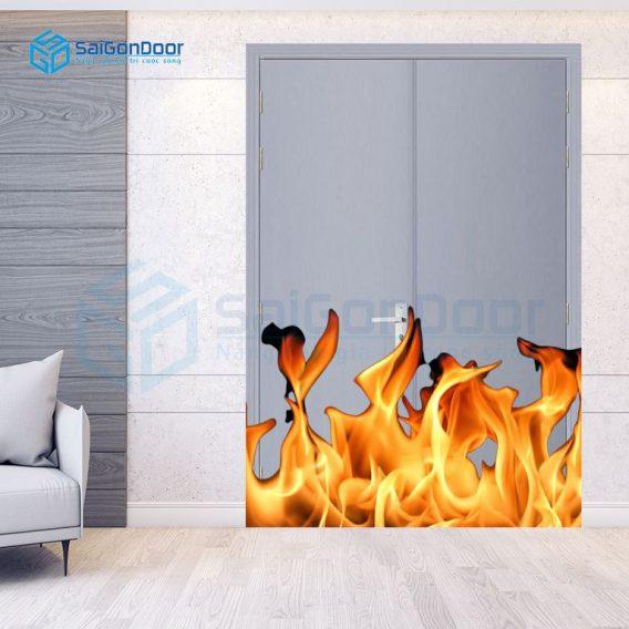 Cửa gỗ chống cháy 2 cánh dùng cho cửa căn hộ cao cấp