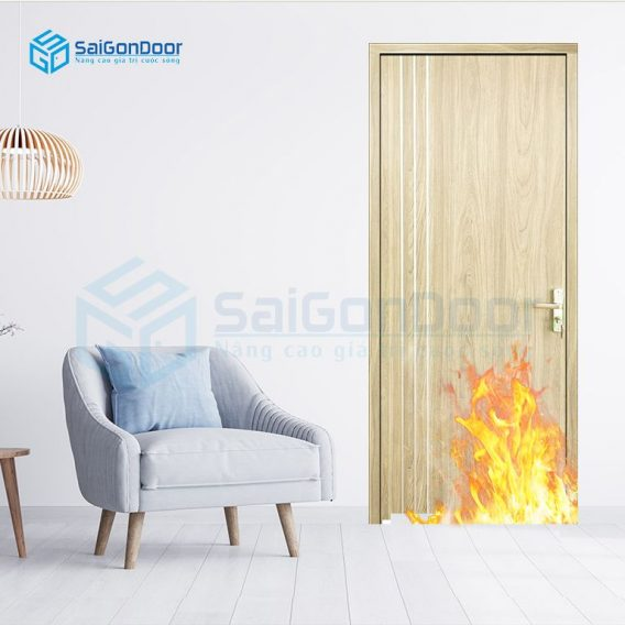 Cửa gỗ ngăn cháy phòng khách hiện đại MDF Laminate P1R2 23029